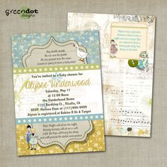nursery rhyme theme baby shower invitation gender neutral boy girl digital and print