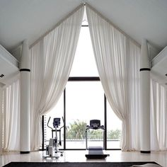 A Perfect Retreat - Thai villa designed by Deborah Oppenheimer Interior Design, . - A Perfect Retreat – Thai villa designed by Deborah Oppenheimer Interior Design, architecture by K - Bedroom Curtains With Blinds, Ceiling Curtains, Bedroom Windows, White Curtains, Arched Window Treatments, Arched Windows, Window Coverings, Arched Window Curtains, Shaped Windows