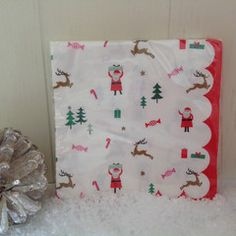 Christmas party napkins featuring favourite Christmas characters and goodies. #Santa #Father #Christmas #Candy #Canes