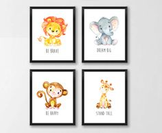 Animals Printable Nursery Art, Jungle Animals Nursery Decor, Lion Giraffe Elephant Monkey Nursery Art, Dream Big, Set of 4, Instant Download by simplypstationery on Etsy https://www.etsy.com/listing/473602218/animals-printable-nursery-art-jungle