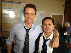 It's week two of filming, and we have another photo straight from the set of Nicholas Sparks' Safe Haven Movie! In today's pic we have David Lyons (who plays Katie's husband) and Juan Carlos Piedrahita between takes on set. They play detectives Tierney and Ramirez in the film.