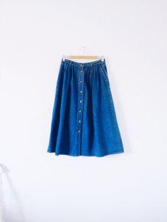 vintage 1990s denim button-down skirt