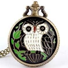 Large black and white owl quartz pocket watch pendant necklace chain gift colored lanyards watches Men's Women relogio de bolso