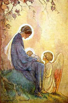 Mary with Jesus & Angel by artist Margaret Tarrant    Oh Pretty!!!  I want everything of Margaret Tarrant like this : baby Jesus and Jesus as Adult.  Not try to be too religious fanatical, but let it be know what I am into.  :)
