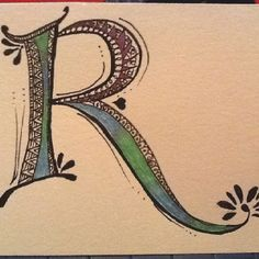 """Inspired by Joanne Fink's Zenspirations Patterned Monogram video, I decided to play with freehand """"lettering"""" tonight... Not too shabby, if I do say so myself! :)"""