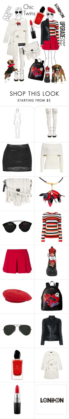 """""""Chic Twins"""" by ahuserapx ❤ liked on Polyvore featuring Marques'Almeida, Balmain, Rebecca Taylor, Proenza Schouler, Marni, Christian Dior, Bella Freud, RED Valentino, Love Moschino and Ray-Ban"""