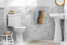The compact Triangle Cadet® PRO and Cornice™ Pedestal Sink combo will turn challenging powder rooms into a uniquely designed space.