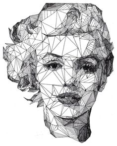 """Triangulations"" pen portraits by artist Josh Bryan where he's taken some well-known celebrities like Marilyn Monroe"