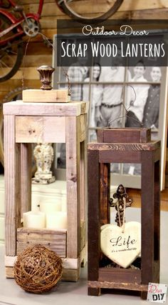 Don't throw away that scrap wood! Make these easy scrap wood lanterns for your o… Don't throw away that scrap wood! Make these easy scrap wood lanterns for your outdoor decor. Endless possibilities, including using them inside as well. Wood Projects For Beginners, Scrap Wood Projects, Easy Woodworking Projects, Popular Woodworking, Teds Woodworking, Outdoor Projects, Rustic Lanterns, Lanterns Decor, Diy Décoration
