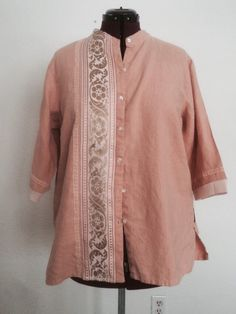 Upcycled plus size peach linen shirt with vintage trims