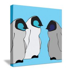 Other color options available too! Nursery Design, Nursery Wall Art, Canvas Wall Art, Nursery Modern, Modern Wall Decor, Baby Penguins, Penguin Baby, Modern Kids, Kids Decor