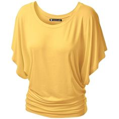 Lock and Love Women's Boatneck Dolman Top ($7.99) ❤ liked on Polyvore featuring tops, shirts, boatneck tops, boat neckline tops, slash neck top, yellow shirt and boat neck shirt