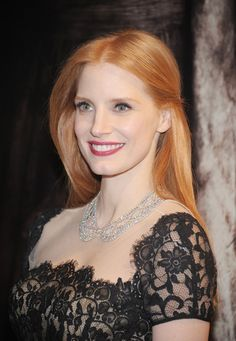 dear Jessica Chastain i love your strawberry blonde hair. sincerely yours...