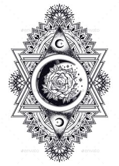 Boho beautiful ornate composition with sacred scre. Boho beautiful ornate composition with sacred scresent moon and rose. Isolated vector illustration Drawing in flash tattoo style. Rose Tattoos, Flower Tattoos, Body Art Tattoos, New Tattoos, Sleeve Tattoos, Flash Tattoos, Elbow Tattoos, Family Tattoos, Print Tattoos