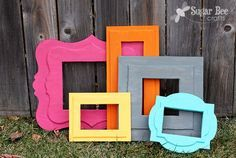 Picture frames tend to be one of the only craft things I do again and again. DIY Foam Frames of Awesomeness ~ Sugar Bee Crafts Bee Crafts, Foam Crafts, Foam Board Crafts, Picture Frame Crafts, Picture Frames, Dollar Store Crafts, Dollar Stores, Marco Diy, Cadre Diy