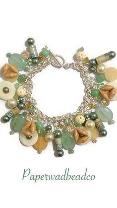 Seafoam Green & Tan Paper Bead Charm by PaperwadBeadCompany