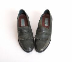 Size 7 1/2 Forest Green Leather Penny Loafers 37.5
