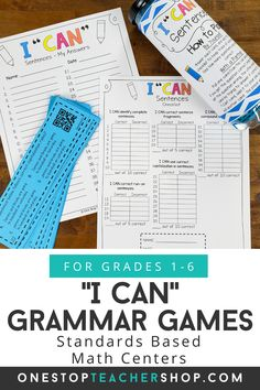 I CAN Grammar Games are engaging, rigorous, and fun! These grammar practice activities cover all grammar standards and word study! Perfect for Grammar Review, Literacy Centers, or Guided Reading Activities! Helps teachers with progress monitoring. Now Available for 1st, 2nd, 3rd, 4th, 5th, and 6th grade. Grammar Games, Grammar Practice, Grammar Skills, Teaching Grammar, Guided Reading Activities, Writing Activities, Teaching Reading, Fun Learning, Grammar Review