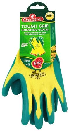 OAKDENE TOUGH GRIP LATEX GLOVES GREEN/CREAM 9/L. KD49514.