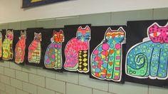 ideas for cats drawing ideas laurel burch 3rd Grade Art Lesson, Third Grade Art, Art Lessons For Kids, Art Lessons Elementary, Square 1 Art, Jr Art, School Art Projects, Kindergarten Art, Laurel Burch