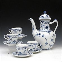 Royal Copenhagen Blue Fluted Half Lace Border Coffee Pot with Four Cups and Saucers - Hand Painted