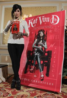 Kat Von D with her book...