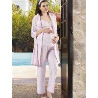 Gümüş 9847 Hamile Sabahlık Pijama Takım; Sabahlığı yetim kollu, pijamanın üstü ince askılıhamile sabahlık pijama takım penye kumaştan üretilmişt