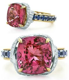 Tiffany and Co Jean Schlumberger pink sapphire and diamond ribbon ring.