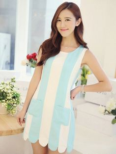 Blue and cream sweetly scalloped dress