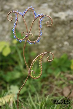 Decoration. Decor to flowerpot. Tulip. Soldered and wire wrapped techniques. Copper patina. Sun catcher.
