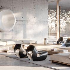 Metrica Visualización Arquitectónica Condo Interior Design, Living Room Interior, Living Room Decor, Futuristic Interior, Modern Interior, Interior Architecture, Sofa Furniture, Furniture Design, Bedroom Bed Design