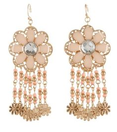 Pink and Gold Flower Drop Earrings