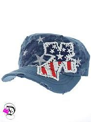Blue American Flag Cross Cadet Hat $14.99 Divalicious