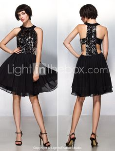Cocktail Party Dress - Champagne A-line Halter Knee-length Chiffon / Sequined 2015 – $80.09