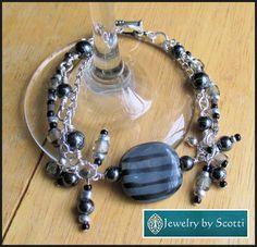 Black Gray Silver Statement Bracelet Kazuri by JewelryByScotti