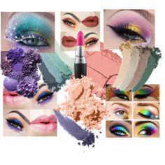 Matilda Larsens moodboard för colorful makeup