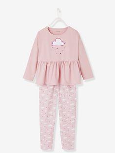 Pyjama bi-matière fille - Parme grisé imprimé - 1