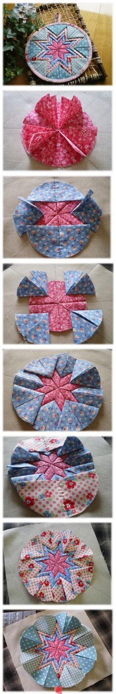 fabric star folded ornament