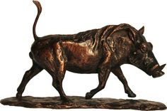 #Bronze #sculpture by #sculptor Camilla Le May titled: 'Little Warthog (Trotting/Running bronze statuette/figrine/statuette)'. #CamillaLeMay