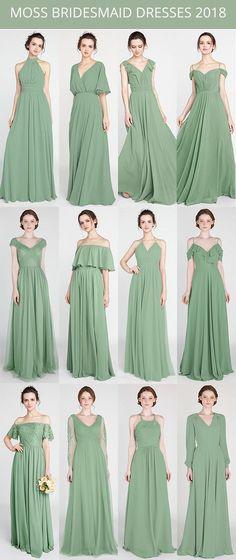 moss green bridesmaid dresses for 2018 trends #bridalparty #bridesmaiddress #weddingcolors #greenerywedding