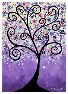 Purple Whimsical Tree Landscape Flowers Colorful Great for Children too! Giclee Posters and Prints