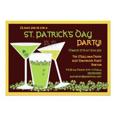 St. Patrick's Day Party Invitations St. Patrick's Day Green Cocktails & Beer Card