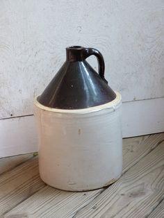 Antique CROCK JUG Handled Vintage Pottery Old Bottle Salt Glazed Moonshine Farm Fresh