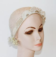 Antique French Lace Wax Blossoms & Bead Work Wedding Veil