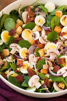 Spinach Salad with Warm Bacon Dressing - this salad is delicious and it's filling enough for a main meal!