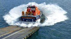 The RNLI Mumbles lifeboat launching - Mumbles, Swansea, South Wales, UK