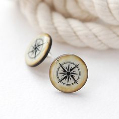 Vintage Compass Post Earrings