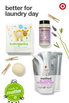 Go natural on laundry day with products from Made to Matter, handpicked by Target. Starting with the wash, check out Method Free & Clear detergent, made for sensitive skin using non-toxic ingredients. Add a fresh, natural scent to the load with Mrs. Meyer's Lavender Scent Booster. Complete the cycle with the natural goodness of Babyganics Wool Dryer Balls, which cut drying time and last up to 1000 loads.
