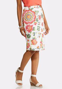 f3ec3d3415c Floral Lace Midi Skirt Cato Fashions  catoconfident Cato Fashion Plus Size
