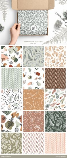 Fern Abstract pattern collection by Cozy pattern shop on Abstract Shapes, Abstract Pattern, Geometric Shapes, Graphic Patterns, Print Patterns, Texture Packs, Hand Sketch, Collage Maker, Pattern Illustration